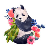 Watercolor panda with flowers isolated on a white background. Watercolor illustration. - 209261557