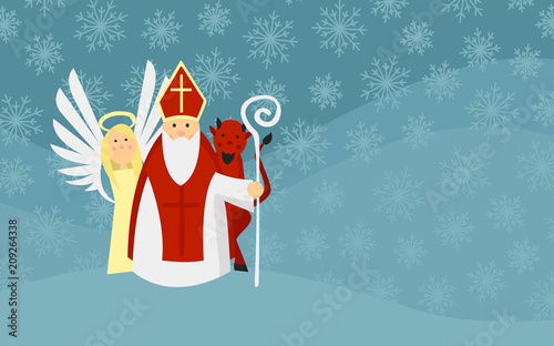 Saint Nicholas with Angel and Devil in Snowy Landscape. European Tradition. © Dvorakova Veronika