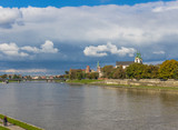 Krakow, Poland - the second biggest city in Poland, Krakow offers a mix of history and modernity. Here in the picture a perspective of the Old Town see from the Vistula river, which cuts the city