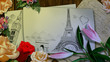 Illustration figure of the Eiffel tower with hearts on a sheet of paper with flowers . 3D rendering.