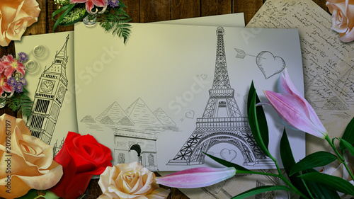 Sticker Illustration figure of the Eiffel tower with hearts on a sheet of paper with flowers . 3D rendering.