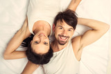 Top view.White young happy married couple - 209269178