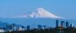 Ciudad de México, de fondo volcán Popocatepetl y avión