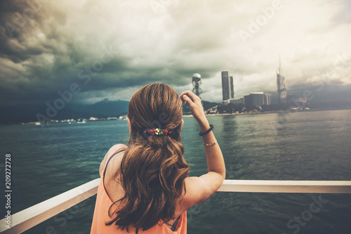 Fototapeta woman in ship in ocean