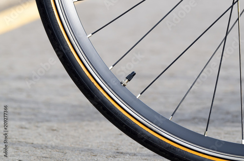 Fotobehang Fiets Bicycle wheel close-up