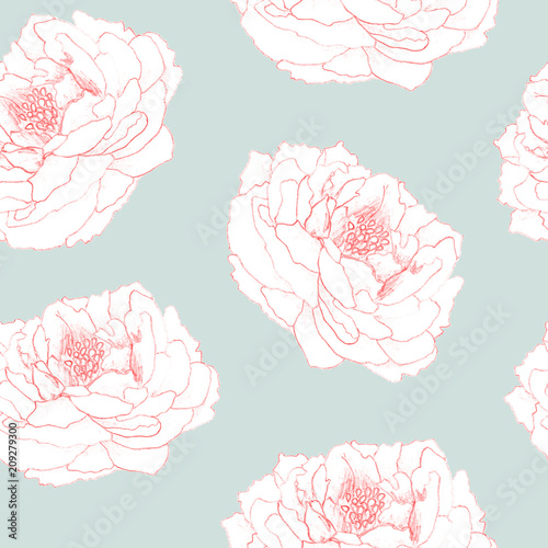 Cotton fabric Seamless hand drawn floral pattern for  textile, fabric, paper, wallpaper. Peony flowers on the blue background.