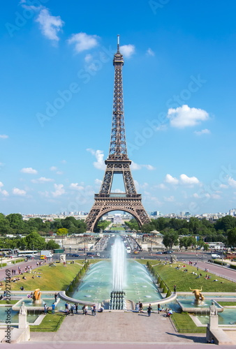 Eiffel Tower and Trocadero fountains, Paris, France - 209279369