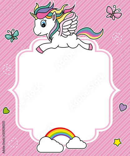 cute unicorn card. Frame with space for text - 209280315