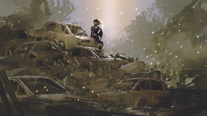 post-apocalyptic scene showing the woman with a mask sitting on pile of wrecked cars, digital art style, illustration painting © grandfailure