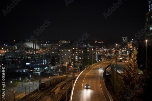 Aluminium Nacht snelweg Cityscape