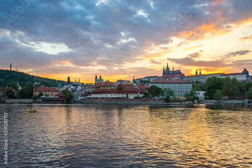 Sunset view of Prague city skyline in Czech Republic