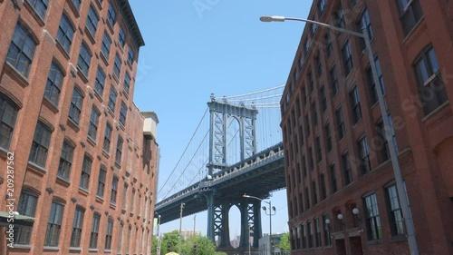 4k moving shot of Manhattan Bridge from Dumbo Brooklyn