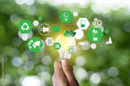 Leinwanddruck Bild green energy concept energy sources sustainable Ecology Elements
