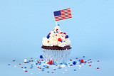 4th of July cupcake with flag and sprinkles - 209294796
