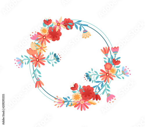 Wall mural Pink flower wreath frame on isolated background