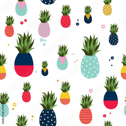 Pineapple fruit fun color pattern background - 209295754