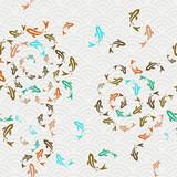 Asian koi fish pond seamless pattern art - 209295993
