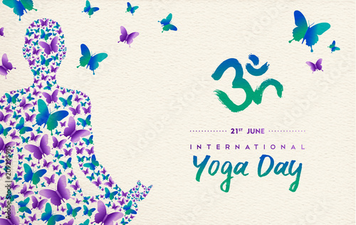 Plakat Yoga day card of girl in lotus pose for meditation
