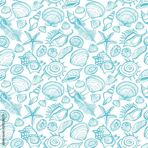 貝殻 ターコイズブルー パターン背景