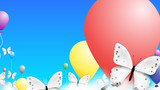 Realistic Butterfly And Colorful Baloons Climbing Over Clouds In the Sky. Modern Vector Background