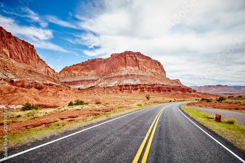 Scenic road in the Capitol Reef National Park, Utah, USA.