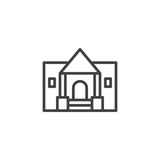 Museum building outline icon. linear style sign for mobile concept and web design. Historical museum simple line vector icon. Symbol, logo illustration. Pixel perfect vector graphics - 209301377