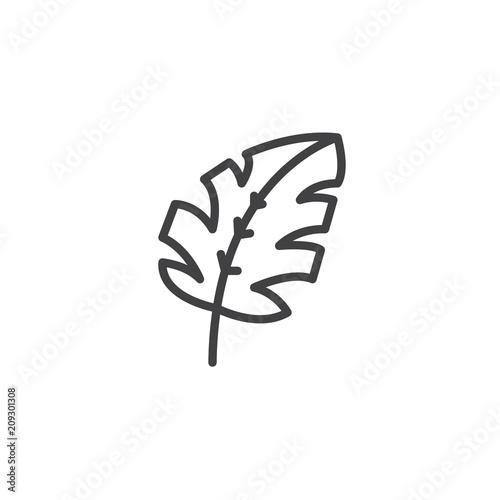 Ikona zarys tropikalny liść. Znak stylu liniowego dla koncepcji mobilnej i projektowanie stron internetowych. Monstera liści roślin proste wektor ikona linii. Symbol, ilustracja logo. Doskonała grafika wektorowa pikseli