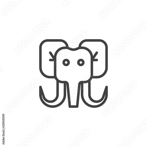 2070c8ce882c Mammoth head outline icon. linear style sign for mobile concept and web  design. Elephant