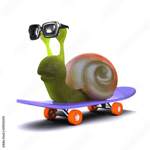Fotobehang Skateboard Vector 3d Snail riding a skateboard