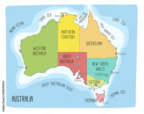 Buy Map Of Australia.Vector Map Of Australia Colorful Sketch Illustration With