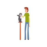Young man presenting his purebred pet at cat breeds show cartoon vector Illustrations on a white background