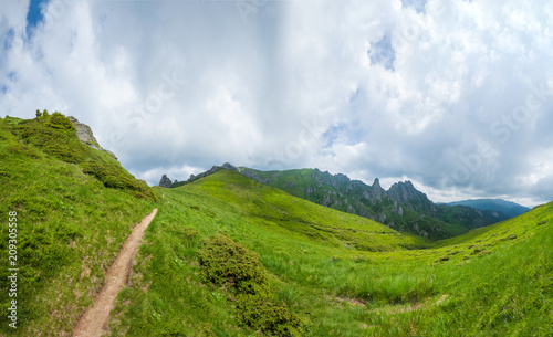 Aluminium Landschappen Panoramic view of Mount Ciucas on summer
