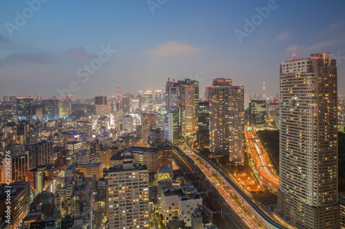 Night view of Tokyo city with high building and expressway