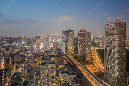 Aluminium Tokio Night view of Tokyo city with high building and expressway