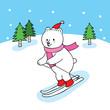 Cartoon cute polar bear plying ski vector.