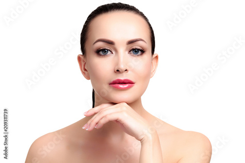Pretty woman with smooth and soft skin, isolated on white background