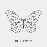 Abstract polygonal butterfly. Geometric linear animal. Vector illustration.