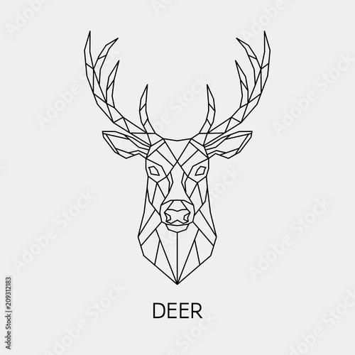 Abstract polygonal the head of a deer. Geometric linear animal. Vector.