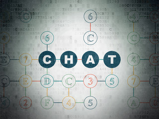 Web design concept: Painted blue text Chat on Digital Data Paper background with Hexadecimal Code
