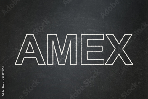 Stock market indexes concept: text AMEX on Black chalkboard background