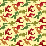 Dinosaurs vector dino animal tyrannosaurus t-rex danger creature force wild jurassic predator prehistoric extinct seamless pattern background illustration.