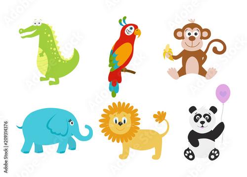 Poster Cartoon crocodile, elephant,  panda, lion, parrot,  monkey for baby goods..