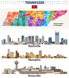 vector congressional districts map and major cities abstract skylines of Tennessee state - 209316537