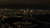 AERIAL: Stunning shimmering New Jersey and Downtown Manhattan skyline at night - 209317191