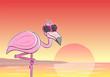 Cartoon Flamingo mit Sonnenbrille vor Sonnenuntergang  - 209326766