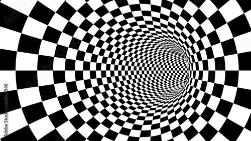 Optical black and white tunnel illusion