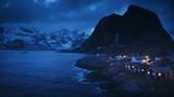 fisherman village Hamnoy by night, Lofoten Islands, Norway - 209330977