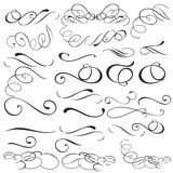 Collection of vector filigree flourishes for design - 209332326