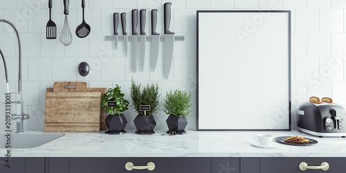 Modern Kitchen Interior With Empty Banner Mock Up 3d Render Buy