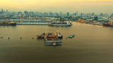 aerial view of klong tuey port and container ship loading rice paddy over chaopraya river heart of bangkok thailand capital - 209335572